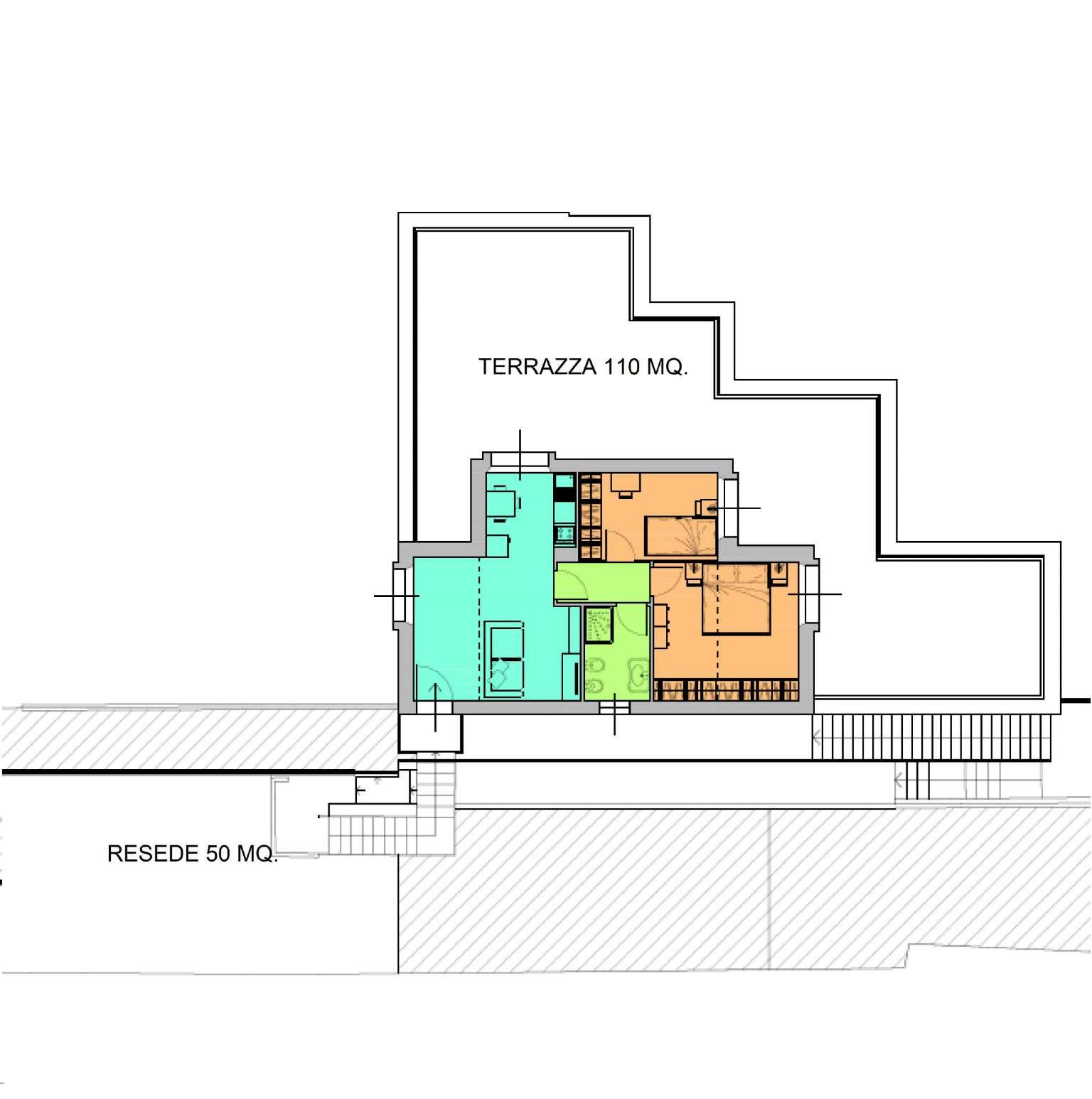 Attico di nuova costruzione con terrazza e resede esclusiva